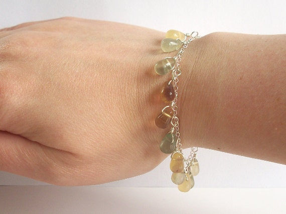 Teardrop Rainbow Flourite Bracelet in Sterling Silver, On Sale 25% Off