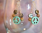 Peace Sign Earrings Turquoise with Abalone and Jasper Beads - Silver Chain Dangle Earrings