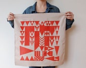 Vienna triangles hand printed cotton scarf