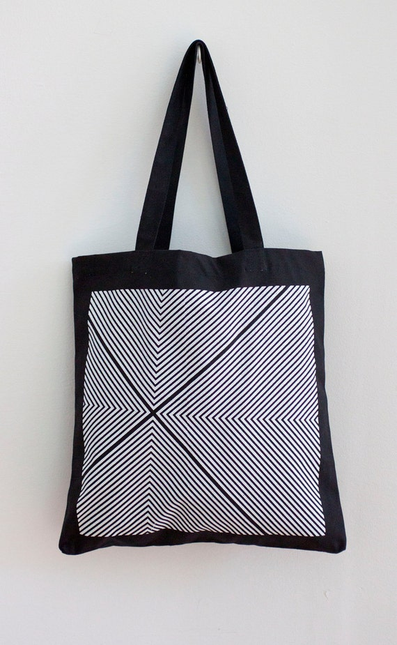 Four Corners Hand-Printed Tote in Black and White - Geometric Tote