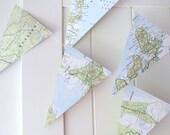 Atlas Bunting,Map Bunting 5ft Long,Map Decor,Wedding Bunting,Wedding Garland,Bridal Shower,Photo Prop,Bon Voyage Party