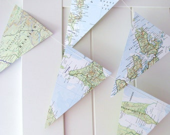 Atlas Bunting,Map Bunting 5ft Long,Map Decor,Wedding Bunting,Wedding Garland,Bridal Shower,Photo Prop,Bon Voyage Party