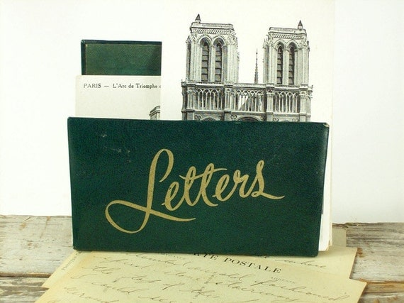 Letter Holder Mail Holder Mid Century Green Gold
