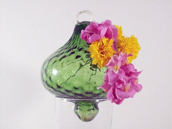 Green Glass Hanging Vase