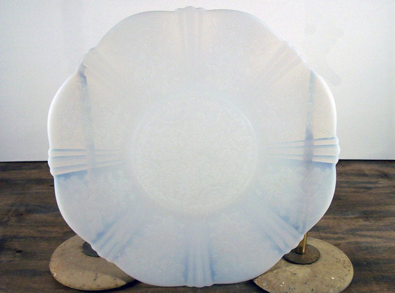 White Opalescent Glass Plate American Sweetheart Monax