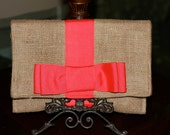 Burlap Clutch inspired by Kate Spade- Watermelon Grosgrain Ribbon