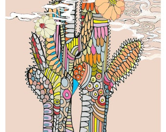 "Archival print of an original illustration: ""Cactus"" (3 colors available)"