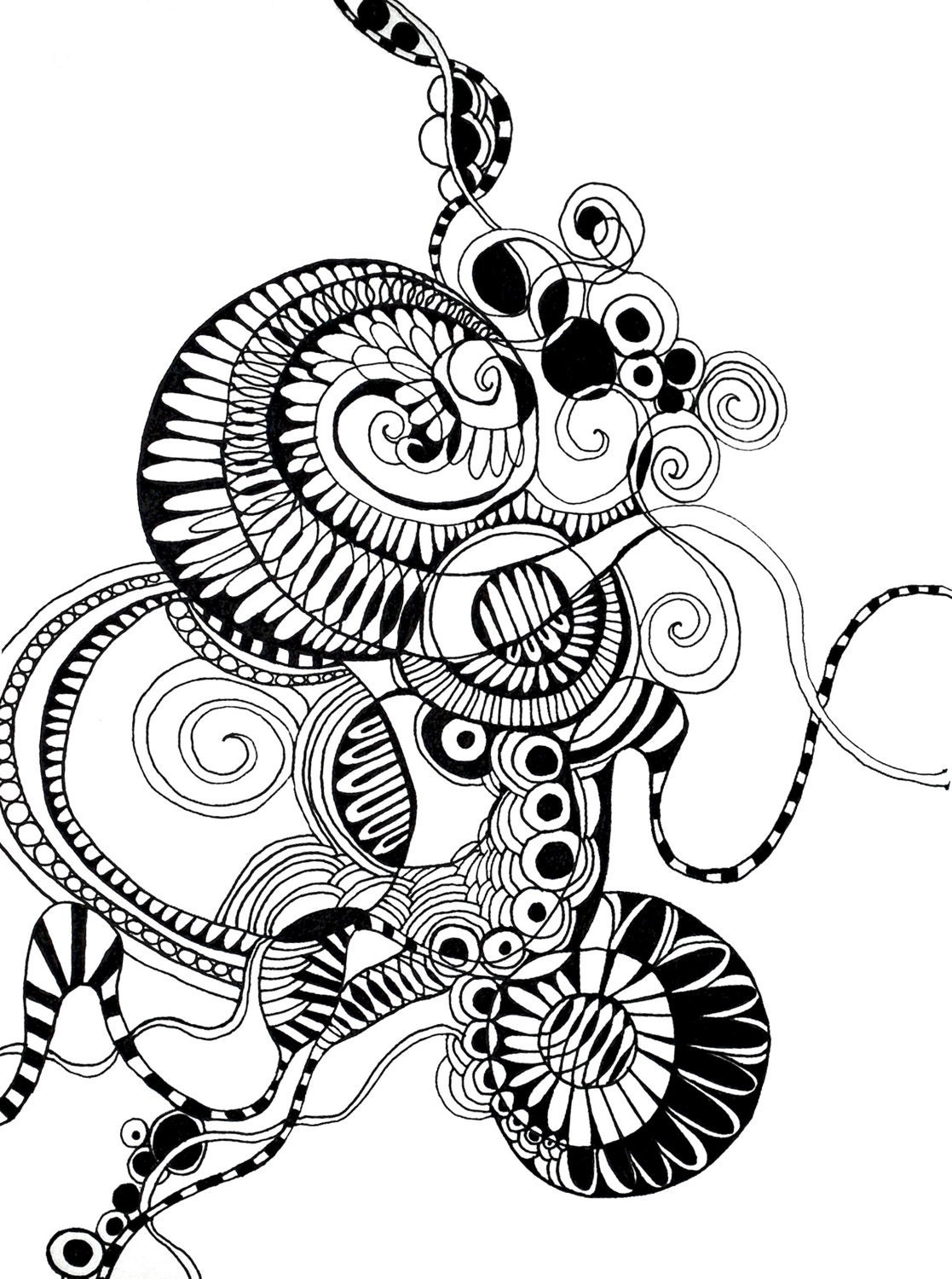 Line Art Ink : Print of an original ink line drawing evolve by mateasinkovec