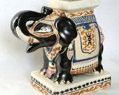 Vintage Ceramic India Black Elephant Royal Ceremonial Parade