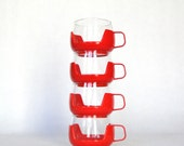 Vintage Roly Poly Red Glasses Valentine Red Retro Glassware Eclectic Housewares Drink Cup & Cups Holder
