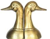 Vintage Pair Brass Bookends Duck Head Mid Century Birds Duck Dynasty Desktop Bookshelf Display Eclectic Office Desk Vestiesteam