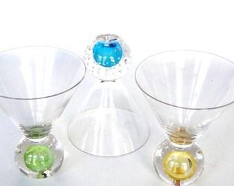 Vintage Glasses Ball Barware Peacock Colored Parfait Tumbler Handblown Glass Beverage Eclectic Retro Drinking Glasses