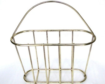 Vintage Brass Magazine Holder Hollywood Regency Book Basket Chinoiserie Chic Accessory Eclectic Home  Decor