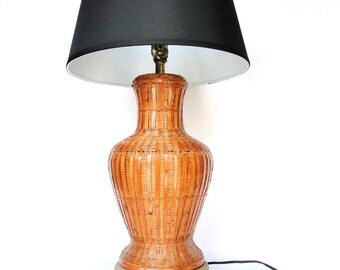 Vintage Rattan Lamp Wicker Bohemian Chic Light Eclectic Lighting Home Decor Natural Reed Ginger Jar Inspired  Table Lamp