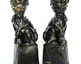 Vintage Foo Dogs Seal Of Origin Imperial Guardian Lion Pair Male Female Half Lion Half Dragon Dogs Chinoiserie Eclectic Home Decor
