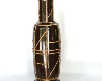 Vintage Lamp Bamboo Urn Inspired Retro Light Chocolate Brown Porcelain Raised Bamboo Geometric Segments Retro Lighting Eclectic Bohemian