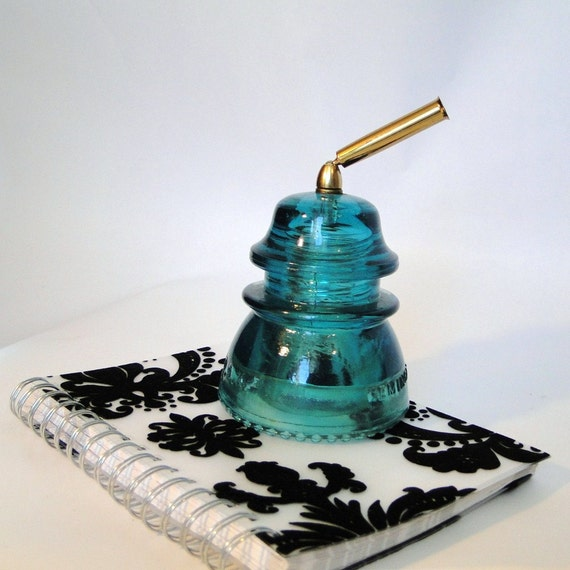 Vintage Hemingray 42 Telegraph Insulator Pen Holder Aqua  Desk Accessory Paper Weight Conversation Piece
