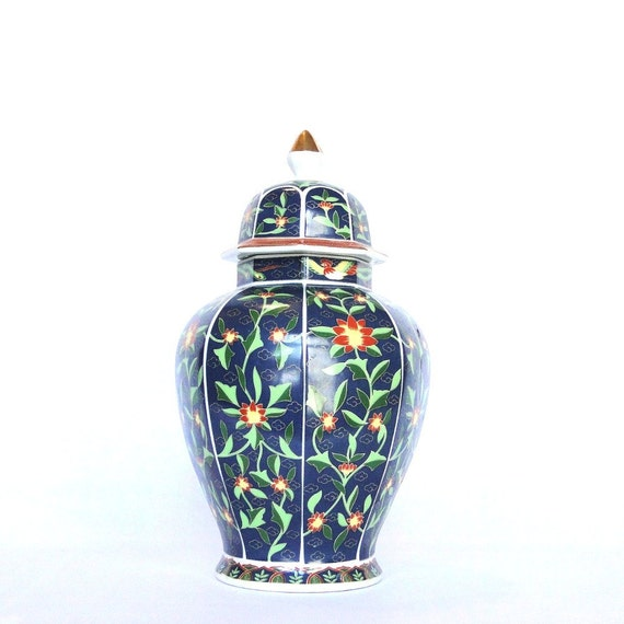 Vintage Ginger Jar Chinoiserie Handpained Asian Lotus Floral Crested Bird Greek Key Gold Accent
