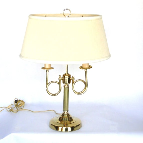 Vintage Brass Light Horn Inspired Double Bulb Lamp Mid Century Traditional Hollywood Regency Lighting