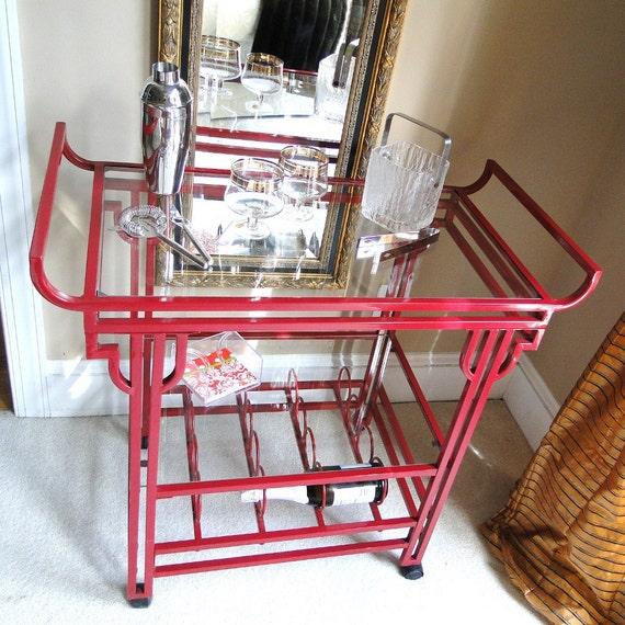 Vintage Bar Cart Art Deco Chinoiserie Red Glass Shelves Metal Wine Rack Eclectic Home Entertaining Mid Century Decor