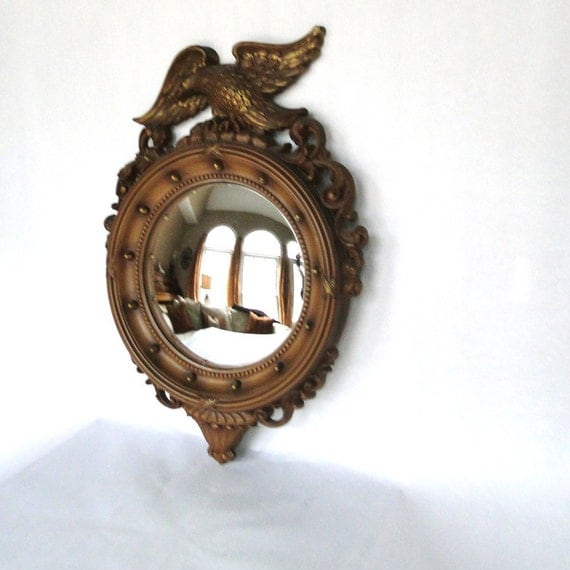 Vintage Convex Mirror Syroco Eagle Ornamentation Bronze Gilt