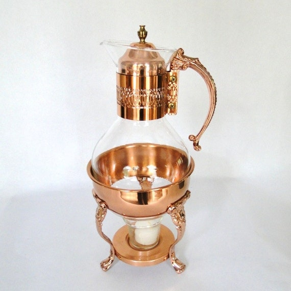 Vintage Copper Coffee Carafe Tea Light Serving Warming Stand Serving Hostess Ware Entertaining Ensemble Eclectic Home Decor