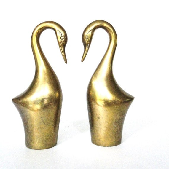 Vintage Bookends Brass Swans Bird Lovers Library Pair Desk Accessory Love Birds Bookends Eclectic Home Decor