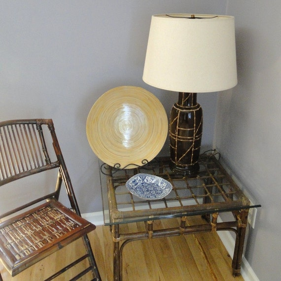 Rattan Coffee Table Etsy: Items Similar To Vintage Table Rattan Cane End Table
