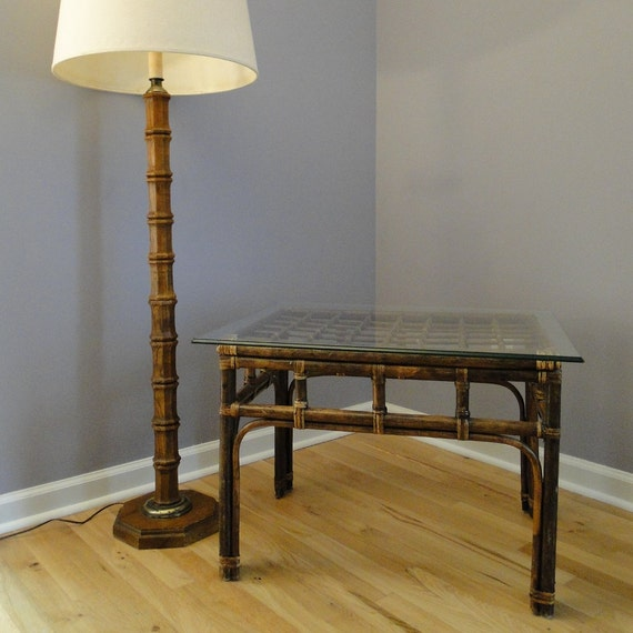 Rattan Coffee Table Etsy: Vintage Table Rattan Cane End Table Bohemian Chic Eclectic