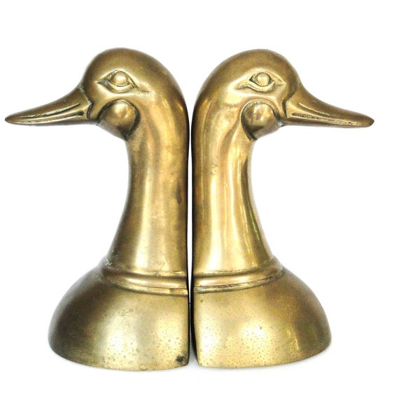 Vintage Pair Brass Bookends Duck Head Mid Century Birds Duck Dynasty Desktop Bookshelf Display Eclectic Office Desk Vestiesteam