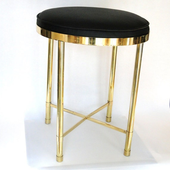 Vintage Vanity Seat Brass Hollywood Regency Glam Boudoir Chair Leatherette Cushioned Mid Century Stool  Eclectic Home Decor