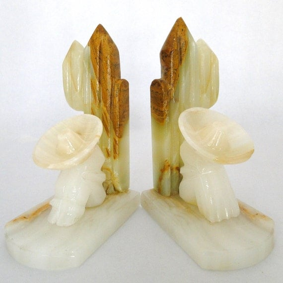 Vintage Bookends Onyx Alabaster Mexican Art Natural Variations In Stone Retro Eclectic Home Decor Mid Century Modern