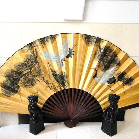 Vintage Fan Art Chinoiserie Rice Paper Wall Hanging Fireplace Screen Asian Signed Hollywood Regency Golden Parchment Eclectic Home Decor