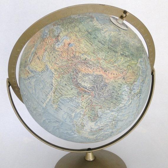Vintage 1960s World Globe Replogle Raised Topography Land and Sea Dual Rotation 12 Inch Diameter Metal Meridian & Stand