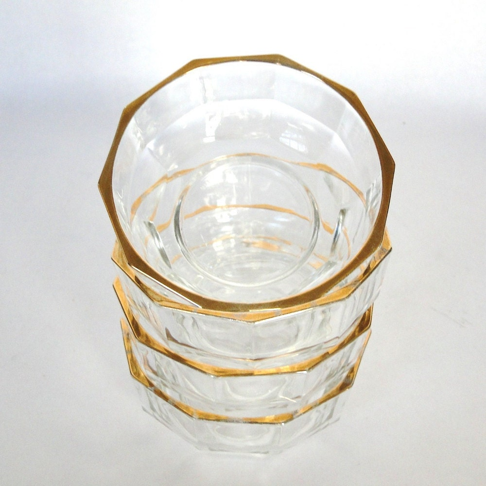 Vintage Bowls Gold Rimmed Clear Glass Bowls Made In Italy