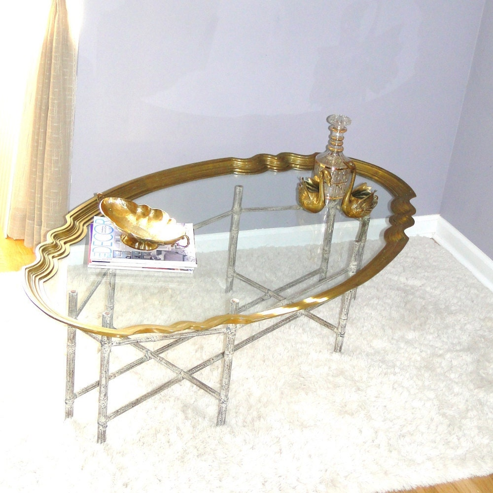 Vintage baker coffee table brass glass tray scallop mad