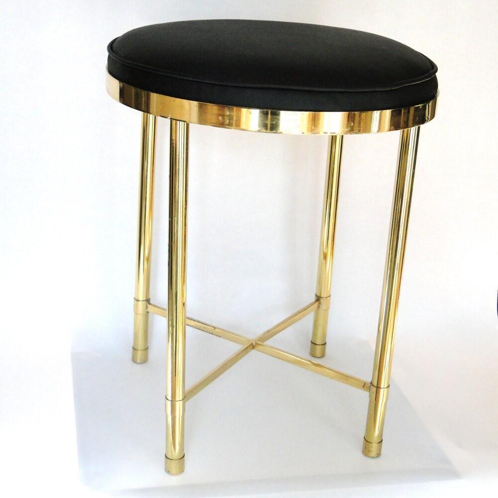 Vintage vanity seat brass hollywood regency glam boudoir chair for Boudoir stoel