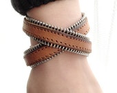 2 Circles Light Brown Leather Wrap Bracelet  Adjustable With  metal Studs