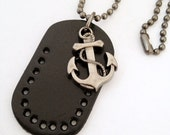 Nautical Anchor with Black leather Tag Charm Necklace - Silver Anchor
