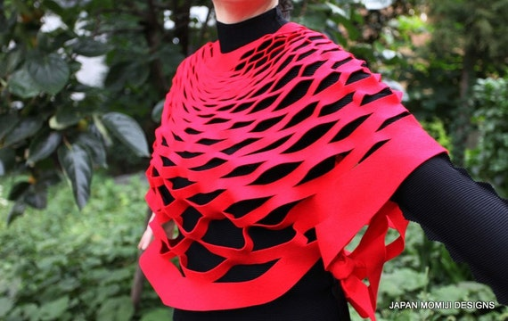 Felt red poncho gift for her, Felt scarf, Red felt stole, felt bolero, felt poncho, felt scarflett,