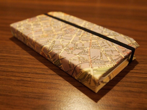 Now with camera hole - iPhone 4/4S Moleskine style case finished in vintage style Paris Street Map