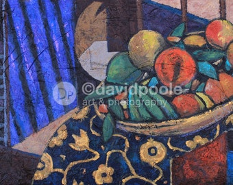 Still Life Painting of fruit in bowl. Photography Print of painting 8x10 Fine Art still life rendering