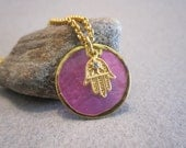Hamsa Gold Necklace Pink  Mother of Pearl