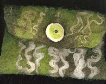 Green and Pleasant Land - wet felted bag