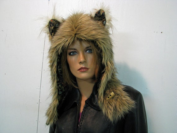 Light Golden Brown and Black Faux Fur Wolf Totem Hood with Tipped Ears and Black Oriental Satin Lining