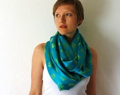 Turquoise Circle Scarf - Sari Scarf - Blue Infinity Scarf -Loop Scarf - Eternity Scarf - Spring Fashion