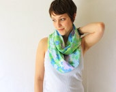Circle Scarf- Upcycled, Spring Colors, Flowers, Spring Fashion, Infinity Scarf, Loop Scarf,