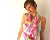 Reserved for Jenifer.Silk Scarf, Unicorns, Hand Painted, Spring Fashion