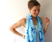 Blue Silk Scarf - Borage - Hand Painted Silk Scarf - Spring Fashion- Blue Flowers Scarf