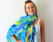 Blue Silk Scarf - Starry Night - Hand Painted Silk Scarf - Spring Fashion - Van Gogh